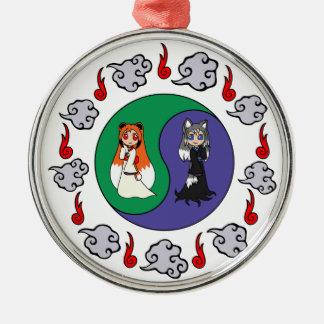 Yin & Yang The Cute Kitsune Sisters (Fox Girls) Christmas Ornament