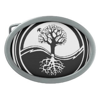 Yin Yang Tree Black and White Oval Belt Buckles