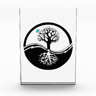 Yin Yang Tree Of Life Black & White Acrylic Award