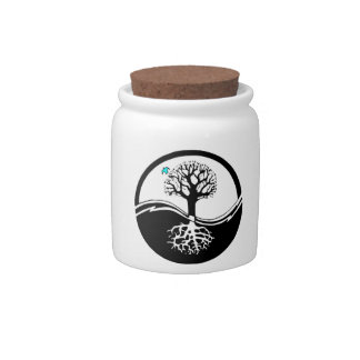Yin Yang Tree Of Life Black & White Candy Dishes