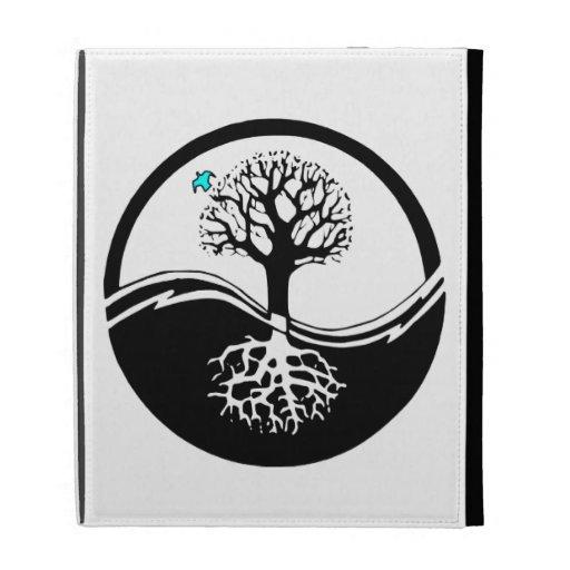 Yin Yang Tree Of Life Black & White iPad Folio Case