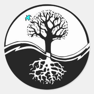 Yin Yang Tree Of Life Black & White Classic Round Sticker
