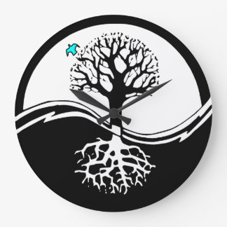 Yin Yang Tree Of Life Black & White Wall Clock