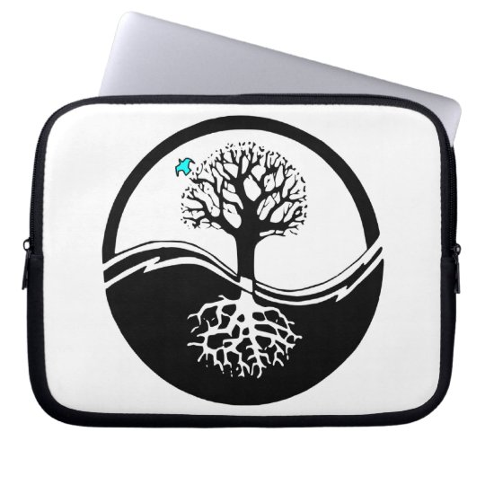 Yin Yang Tree Of Life Black & White Computer Sleeve