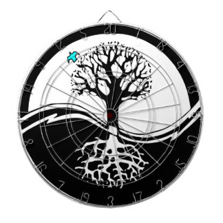 Yin Yang Tree Of Life Black & White Dartboard