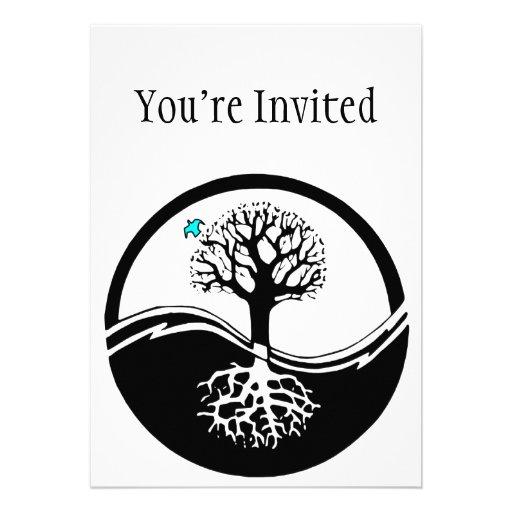 Yin Yang Tree Of Life Black & White Personalized Invitation