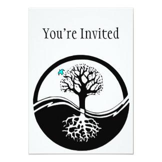 Yin Yang Tree Of Life Black & White 5x7 Paper Invitation Card