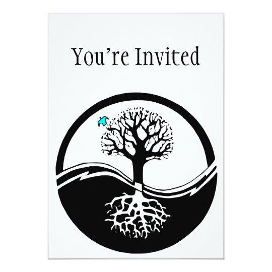 Yin Yang Tree Of Life Black White Invitation