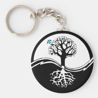 Yin Yang Tree Of Life Black & White Keychain