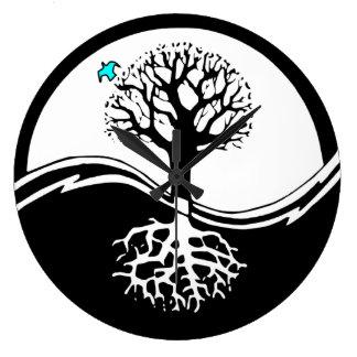 Yin Yang Tree Of Life Black & White Large Clock