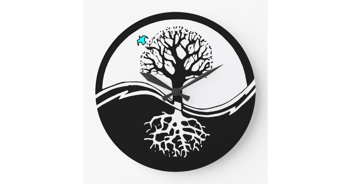 Yin Yang Tree Of Life Black White Large Clock Zazzle Com