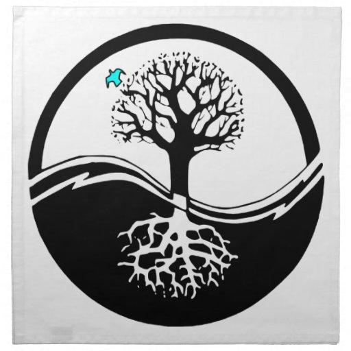Yin Yang Tree Of Life Black & White Printed Napkin