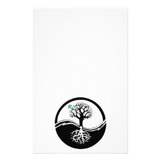 Yin Yang Tree Of Life Black & White Stationery