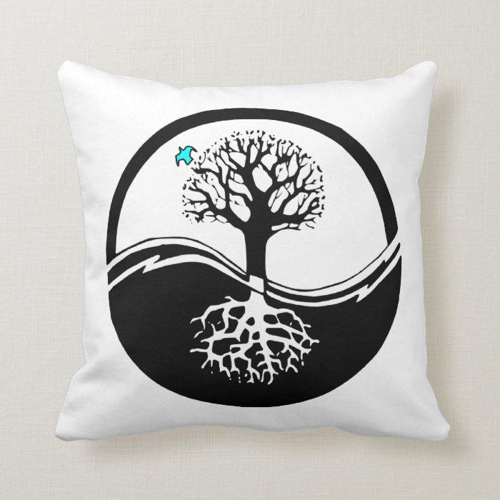 Yin Yang Tree Of Life Black & White Throw Pillow