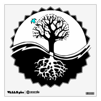 Yin Yang Tree Of Life Black & White Wall Decal