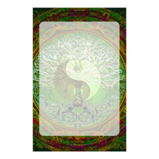 Yin Yang Tree of Life Green Stationery