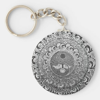 Yin Yang Tree of Life in Silver and Chrome Basic Round Button Keychain