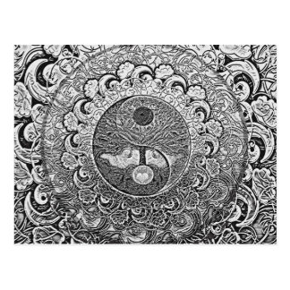 Yin Yang Tree of Life in Silver and Chrome Post Card
