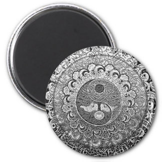 Yin Yang Tree of Life in Silver Colors Magnet