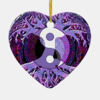 Yin Yang Tree of Life Purple Ceramic Ornament