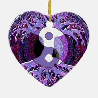 Yin Yang Tree of Life Purple Ceramic Ornament