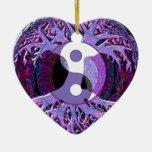 Yin Yang Tree of Life Purple Double-Sided Heart Ceramic Christmas Ornament