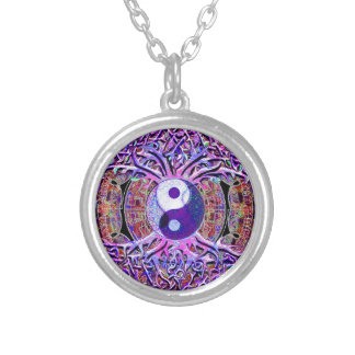 Yin Yang Tree of Life Silver Plated Necklace