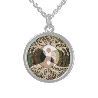 Yin Yang Tree of Life Tan Round Pendant Necklace