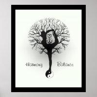 Yin Yang, Tree of Life, Women, Yoga Poster