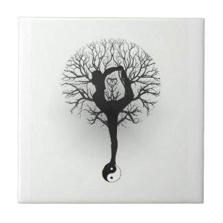 Yin Yang, Tree of Life, Women, Yoga Tile