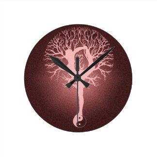 Yin yang, tree of life, yoga, harmony wall clock