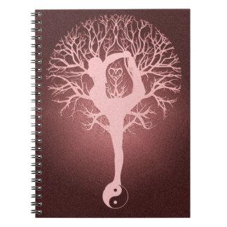 Yin yang, tree of life, yoga, harmony spiral notebook