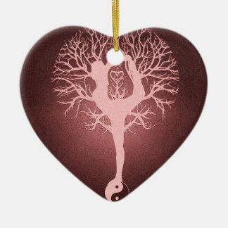 Yin yang, tree of life, yoga, harmony Double-Sided heart ceramic christmas ornament