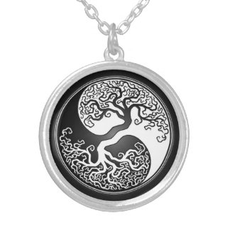 Yin Yang Tree Silver Plated Necklace