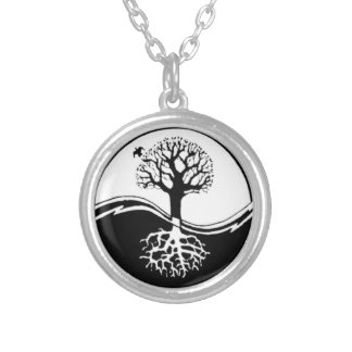 Yin Yang Tree Silver Plated Round Necklace