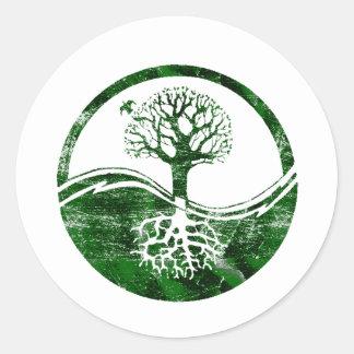 Yin Yang Tree Classic Round Sticker