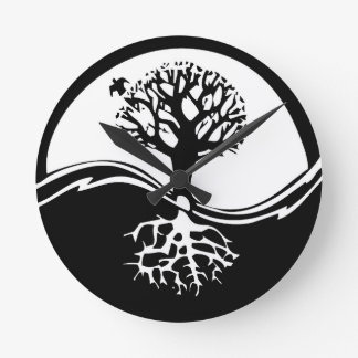 Yin & Yang Trees Round Clock