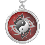 YIN YANG TRIBAL 3D ROUND PENDANT NECKLACE