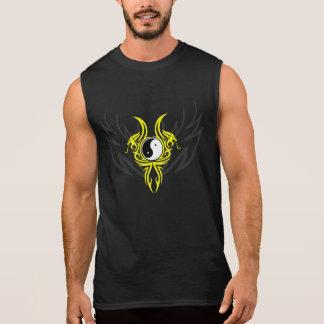 Yin Yang Tribal Dragon Design, Yellow Sleeveless Shirt
