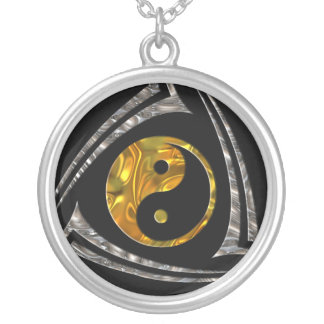 Yin & Yang / Tribal - gold silver Silver Plated Necklace