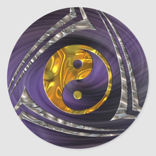 Yin & Yang / Tribal - gold silver | violet spiral Classic Round Sticker