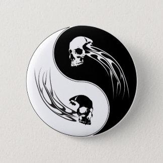 Yin Yang Tribal Skull Pinback Button