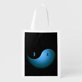 yin yang - turquoise grocery bag