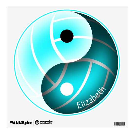 yin yang w minimal girly turquoise volleyball wall decal