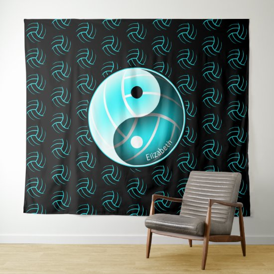 yin yang w minimal girly turquoise volleyball wall tapestry