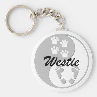 yin yang westie basic round button keychain