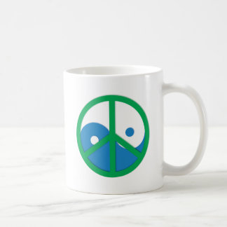 Yin-Yang with Peace sign Coffee Mugs