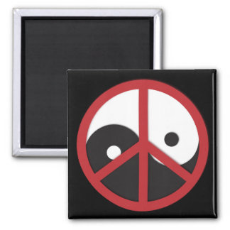 Yin-Yang with Peace sign - red 2 Inch Square Magnet