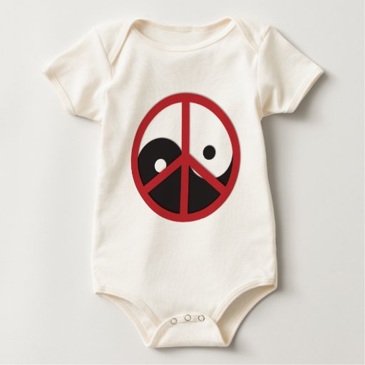 Yin-Yang with Peace sign - red Bodysuit