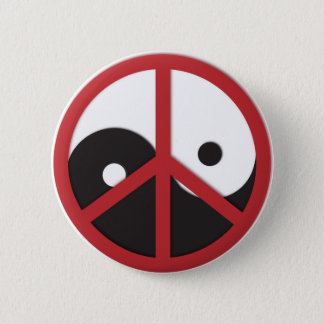 Yin-Yang with Peace sign - red Button